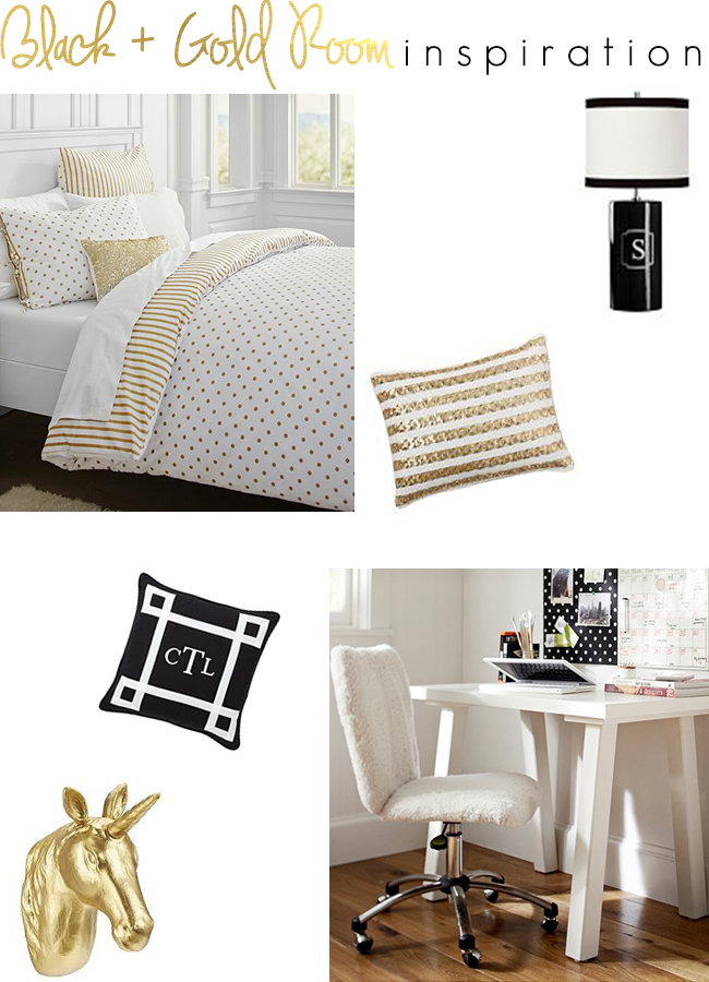 bedroom ideas black and gold